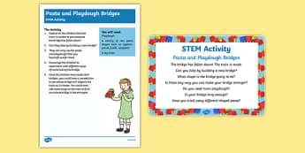Pasta and Playdough Bridges STEM Activity and Prompt Card Pack