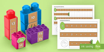 Number Tree to 20 Connecting Bricks Game - EYFS, Early Years, KS1, Connecting Bricks Resources, Duplo, Lego, Plastic Bricks, Building Bricks, F