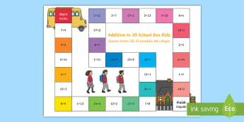 Addition within 20 Bus Board Game English/Spanish - EAL,Addition within 20 Bus Board Game - add, adding, games, maths, numeracy, +, adition, numracy, ad