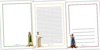 Anglo-Saxons Full Page Borders - anglo saxons, anglo-saxons, anglo saxon page borders, anglo saxon writing frames, history page borders, ks2 history, ks2