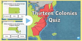 13 Original Colonies Quiz PowerPoint Game - American Revolution, Georgia, Virginia, Connecticut, Delaware, North Carolina, New Jersey, New York,