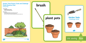 Garden Tools Picture Cards and Challenge Cards EYFS Resource Pack - EYFS Parks and Gardens, Garden, outside, garden tools, job, planting, find, look for, challenge.