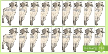 Wow Words on Lamb - Wow words, adjectives, VCOP, describing, Wow, display, poster, wow display, tasty, scary, ugly, beautiful, colourful sharp, bouncy
