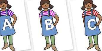 A-Z Alphabet on Enormous Turnip Girl - A-Z, A4, display, Alphabet frieze, Display letters, Letter posters, A-Z letters, Alphabet flashcards