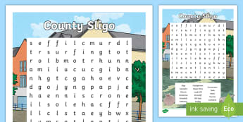 County Sligo Word Search - ROI Topics, Counties of Ireland,  Geography, Worksheet,Irish