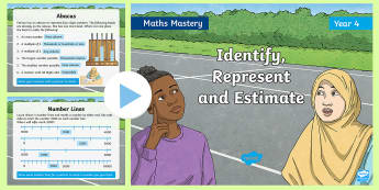 Year 4 Identify, Represent and Estimate Maths Mastery PowerPoint - Reasoning, Greater Depth, Abstract, Modelling, Representation, Problem Solving, Explanation