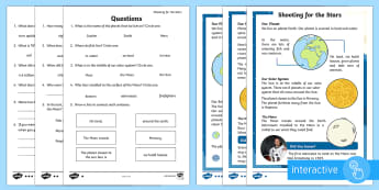 Planets and the Solar System Differentiated Comprehension Go Respond  Worksheet / Activity Sheets - ACELY1660, ACELY1670, Twinkl originals, fiction, space, planets, night and day, dark, sun, Mars, moon, stories, picture bo