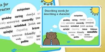 Adjectives To Describe a Character - descriptive words poster, wow words poster, character description poster, character descriptions, ks2 english, adjectives