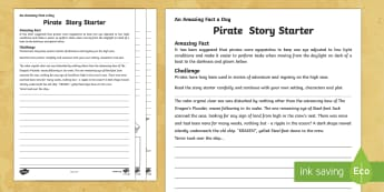 Pirate Story Starter Activity Sheet