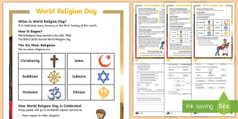 KS1 World Religion Day Differentiated Reading Comprehension Activity - Baha'i, spiritual assembly, Retrieve information, non fiction reading, religious education