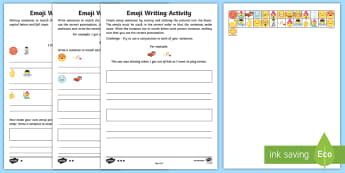KS1 Emoji Sentence Writing Differentiated Activity Sheets - writing frame, capital letters, full stops, punctuation, simple sentences, emoji movie, Worksheets