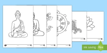 Buddhism Colouring Pages - Buddha, Buddhist, religion, calm activity, colour in