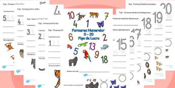 Trasarea cifrelor și formarea numerelor cu tema animale din junglă - Fișă de lucru