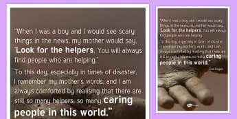 Look For the Helpers Quote A2 Display Poster - disaster, quote, inspiration, uplifting, terrorism, disaster, tragedy, incident, Fred Rogers,  - disaster, quote, inspiration, uplifting, terrorism, disaster, tragedy, incident, Fred Rogers,