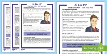 Jo Cox KS2 Differentiated Differentiated Fact File - MP, politics, election, community, syria, refugees,