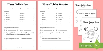 Year 4 Times Tables Tests Assessment Pack - Multiplication tests, KS2 tests, national curriculum, Multiplication tables, mulitplication