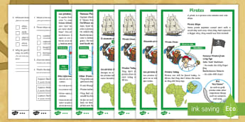 * NEW * KS1 Pirates Differentiated Reading Comprehension Activity - English / Spanish - talk like a pirate day, pirate ships, pirate dress, the golden age of piracy, ks1 history, EAL, ,Spa