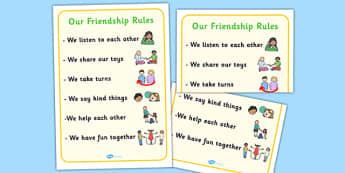 Our Friendship Rules Poster - relationships, SEN, communication