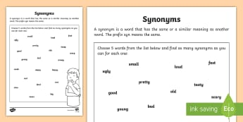 Synonyms Worksheet - synonyms work sheet, worksheet, synonym, synonyms, the same, syn, similar, same, meaning