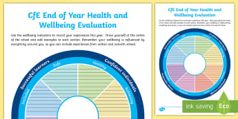 CfE End of Year Wellbeing Evaluation Activity Sheet - CfE Health and Wellbeing, SHANARRI, self evaluation, end of year evaluation.,Scottish, worksheet