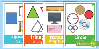 2D Shape with Everyday Examples Display Posters English/Romanian - In the environment,  Shape poster, Shape flashcards, Shape recognition, Shapes in the environment, n