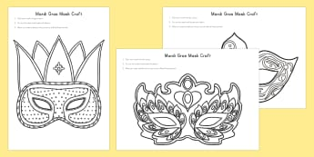Mardi Gras Mask Craft - Mardi Gras, Mardi Gras mask, mask, celebration, occasion, design, colouring, craft