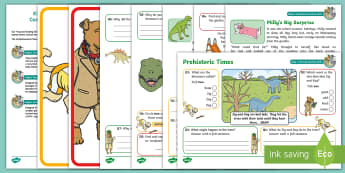 KS1 Prehistoric Times Focused Reading Skills Comprehension Pack - Year 1, Year 2, comprehension, understanding, reading dogs, SATs style questions, content domains