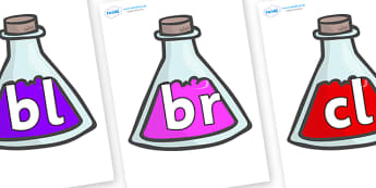 Initial Letter Blends on Potions - Initial Letters, initial letter, letter blend, letter blends, consonant, consonants, digraph, trigraph, literacy, alphabet, letters, foundation stage literacy