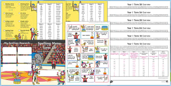 Year 1 Circus Themed Spelling Menu Pack - Spag, Weekly, Lists, Gps, Home Learning
