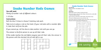 Snake Number Rods Board Game - Cuisenaire rods, number rods, game, recognise, recognition, reasoning, logic, problem solving, visua