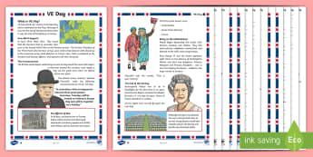 KS2 VE Day Differentiated Reading Comprehension Activity - KS2, VE day, Victory in Europe, 8th May, VE Day, year 3, year 4, year 5, year 6, yr 3, yr 4, yr 5, y