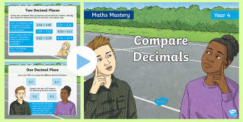 Year 4 Compare Decimals Maths Mastery PowerPoint - Reasoning, Greater Depth, Abstract, Problem Solving, Explanation
