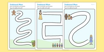 Fairy Tales Pencil Control Path Activity Sheets - traditional tales, pencil control, pencil control worksheets, fine motor skills, fine motor worksheets