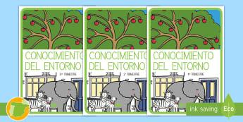 Separadores de álbumes: Conocimiento del entorno - álbum, fin de curso, dividir, tapa de álbumes, tapas, asignaturas, trimestre,Spanish
