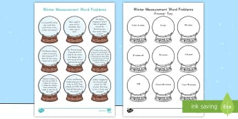 Winter Measurement Word Problems Activity Sheet - time, weight, mass, capacity, gallon, quart, pint, cup, pound, ounces, elapsed time, minute, hour