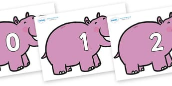 Numbers 0-100 on Hippos - 0-100, foundation stage numeracy, Number recognition, Number flashcards, counting, number frieze, Display numbers, number posters