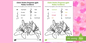 St Dwynwen Colouring Activity with Music Notes Welsh - saint dynwyn, antes dwynwen, st dwynwens day, welsh, saint dwynwen, st dwynwens day
