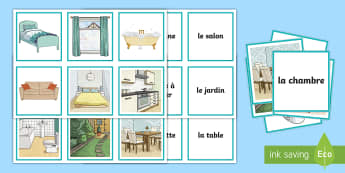 Parts of a House Snap Game French - French Games, french rooms, french homes, french parts of a house, french furniture, french snap gam