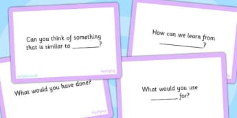 Bloom's Taxonomy Level 3 Applying Challenge Cards