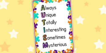 Autism Acronym Poster - autism, acronym poster, poster, display poster, display, classroom display, poster for display, information poster, autism poster