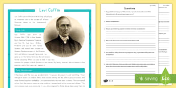Levi Coffin Differentiated Reading Comprehension Activity - United States History, Indiana, Indiana History, Underground Railroad, Abolitionist, Catharine Coffi