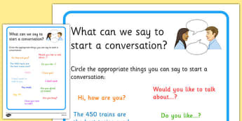 KS3 What Can We Say to Start a Conversation? No Writing Worksheet - relationships, SEN, behaviour, positive, negative, activity, secondary, support, speaking and listening