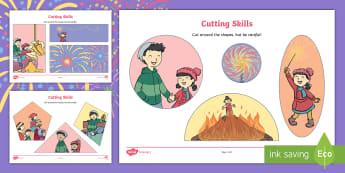 Sparks in the Sky Cutting Skills Activity Sheet - Twinkl Originals, Fiction, scissors, fine motor, skills, fireworks, bonfire night, sparkler