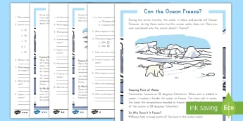Can the Ocean Freeze? Differentiated Reading Comprehension Activity - Ocean, Saltwater, freshwater, Ice Caps, Glaciers, Nonfiction, Freezing Point, Water, Matter