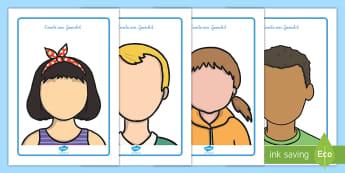 Gesichter Knetunterlage - Kneten, Knete, Playdough, Knetvorlage, bunte Knete, Gesicht, Kopf, Aufen, Nase, Mund,German
