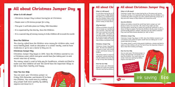 KS1 All About Christmas Jumper Day Differentiated Fact File - save the children, festive, fundraising, charity, non fiction
