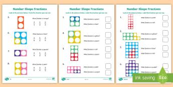 Name the Fraction Activity Sheets - KS1 Maths, numicon, eyes, number shapes, fraction, fractions, share, Worksheets, divide, equal, equa