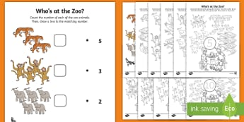 Exploring My World- Who's at the Zoo? Maths Activity Pack - exploring my world, aistear, story, numeracy. number, counting, patterns, number formation,Irish