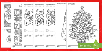 Christmas Mindfulness Colouring Bumper Resource Pack English/Italian - Mindfulness, Colouring, Christmas, Xmas, colour, EAL