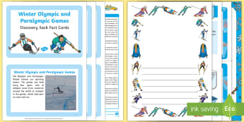 Winter Olympics and Paralympics Discovery Sack - Winter Sports, PyeongChang 2018, EYFS, Early Years, KS1, Key Stage 1, information, facts, investigat